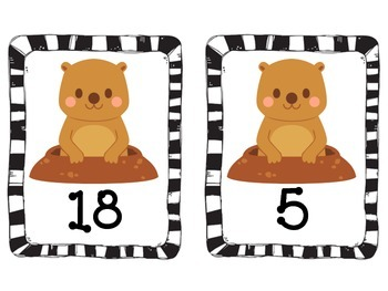Groundhog Day Number Cards