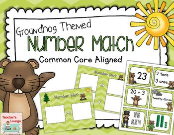 Groundhog Day Number Match Center Activity