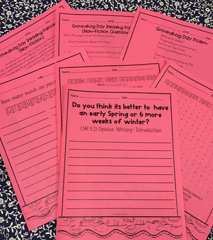 Groundhog Day (Opinion Writing- W.4.1, RI Text Questions, Fun Pages)