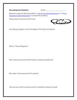 Groundhog Day Packet, 16 Pages of Activities for Grades 4-6