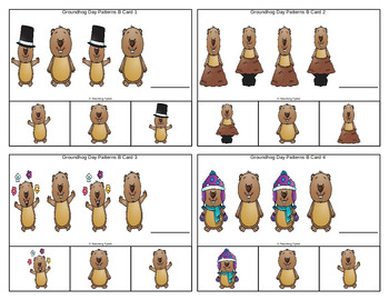 Groundhog Day Patterns Task Clip Cards FREEBIE
