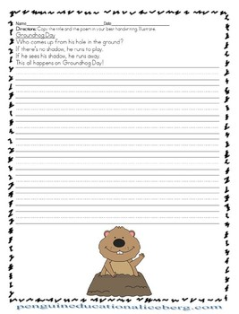 Groundhog Day Poem: Trace or Copy ~ 4 Writing Options