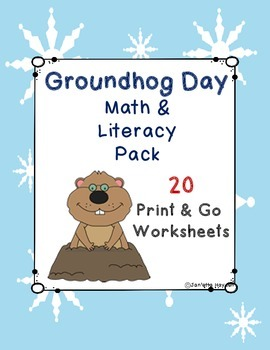 Groundhog Day Print and Go Math and Literacy Worksheets