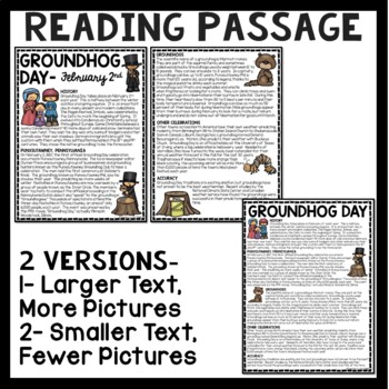 Groundhog Day Reading Comprehension Worksheet, February, Holiday