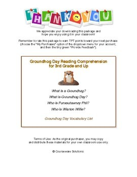 Groundhog Day Reading Comprehension for 3rd and Up