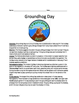 Groundhog Day - Review Article History Questions Activities Vocabulary Facts