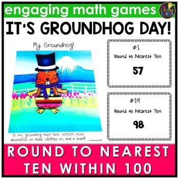 Groundhog Day Activities - Round to Nearest Ten Within 100 Game