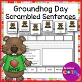 Groundhog Day Writing Scrambled Sentence Cards and Worksheets