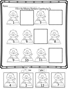 Groundhog Day Sequencing Numbers 1's, 2's, 5's 10's For Kindergarten