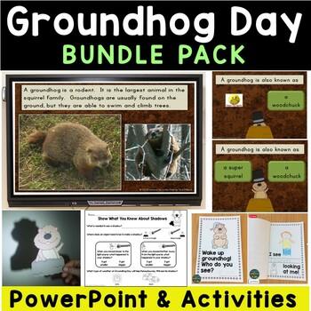 Groundhog Day & Shadows Bundle (Interactive PowerPoint, Printables, Activities)