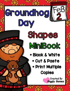 Groundhog Day Shapes Cut and Paste Mini Book