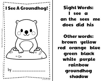 Groundhog Day Sight Word Book