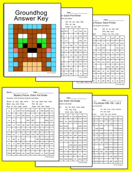 Groundhog Day Activity Sight Words Mystery Picture