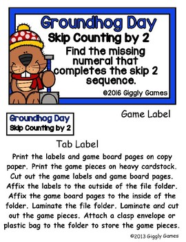 Groundhog Day Skip Counting by 2 File Folder Game