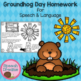 Groundhog Day Speech Therapy Homework FREE {Articulation or Language}