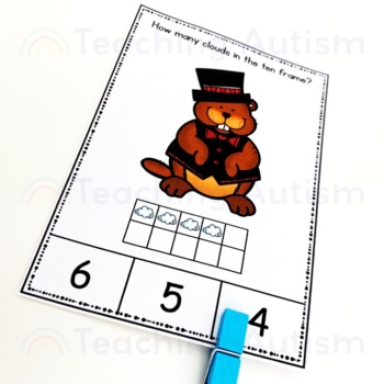 Groundhog Day Ten Frame Task Cards