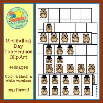 Ten Frames Clip Art - Groundhog Day
