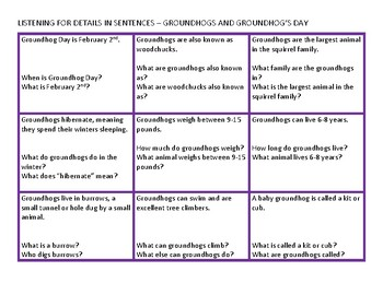 Groundhog Day Theme Pack for Speech Therapy