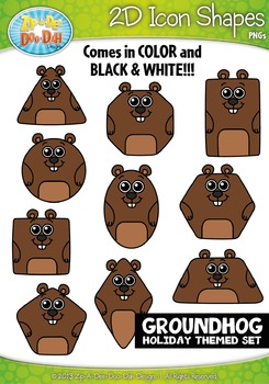 Groundhog Day 2D Icon Shapes Clipart {Zip-A-Dee-Doo-Dah Designs}