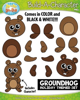 Groundhog Day Themed Build-A-Character Clipart Set — Inclu