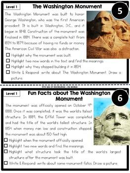 Groundhog Day, Valentine and Washington Monument Nonfiction Reading Passages