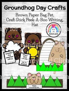 Groundhog Day Craft Bundle for Kinder: Paper Bag, Craft Stick & Writing, Hat