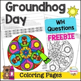 Groundhog Day Speech Therapy WH Questions Color by Number  pages