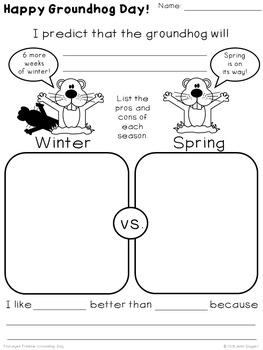 Groundhog Day - Winter vs. Spring {Four-eyes Freebie}