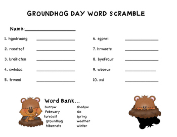 Groundhog Day Word Scramble