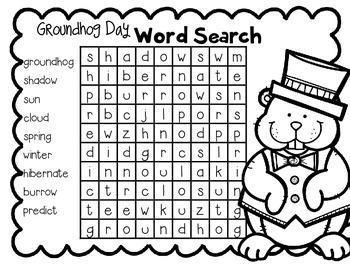 Groundhog Day Word Search FREEBIE!