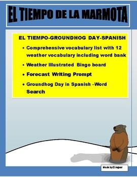 Groundhog Day- La Marmota-Weather Bingo/Forecast Prompt in Spanish