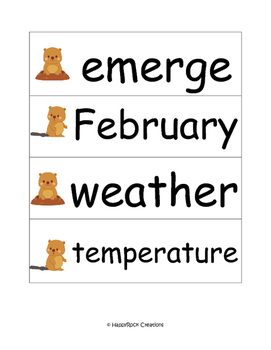 Groundhog Day Word Wall Cards