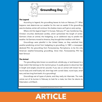 February Persuasive Paragraph - Groundhog Day Writing Activity