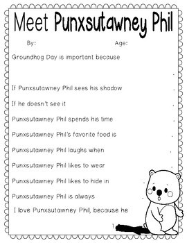 Groundhog Day Writing Activity: All About Punxsutawney Phil, {Color and B&W)