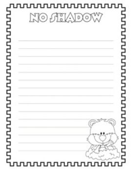 Groundhog Day Writing Paper - 4 Designs - 3 Styles - Black and White