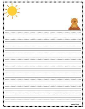 Groundhog Day Writing Paper - Lined Paper with Graphics