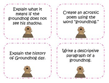 Groundhog Day Writing Prompts and Story Starter Task Cards