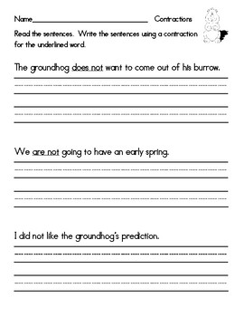 Groundhog Day Writing Sentences with Contraction