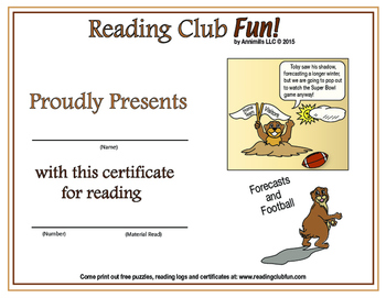 Groundhog Day and Football Reading Log and Certificate Set