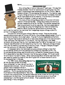 Groundhog Day Reading Comprehension Worksheet, February Holidays