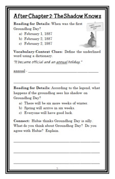 Groundhog Day from the Black Lagoon (Mike Thaler) Novel Study / Comprehension