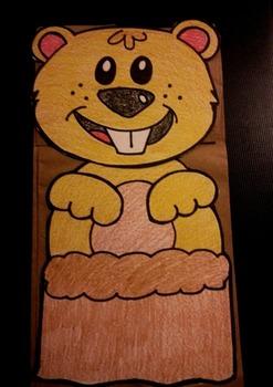Groundhog Day paper bag puppet