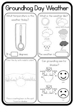 Groundhog Day shadow worksheet