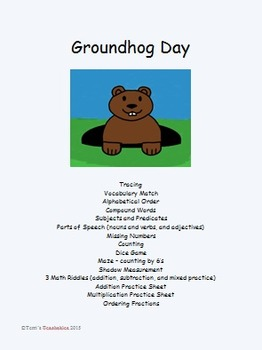 Groundhog Day - vocab., parts of speech, math riddles, measuring, and more!