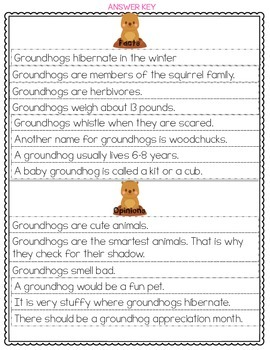 Groundhog Fact and Opinion Sort {FREEBIE}