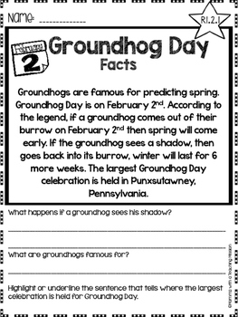 Groundhog Facts Non-fiction Comprehension Passages