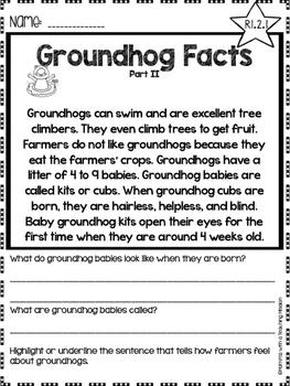 Groundhog Facts Non-fiction Comprehension Passages