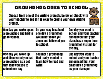 Groundhog Goes to School Creative Writing in Google Slides™