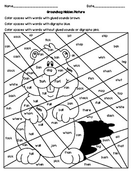 Groundhog Hidden Picture - Glued Sounds, Digraphs