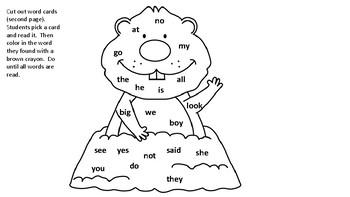 Groundhog Kindergarten Sight Word Practice